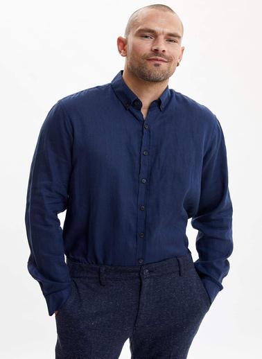 DeFacto Klasik Keten Gömlek Mavi